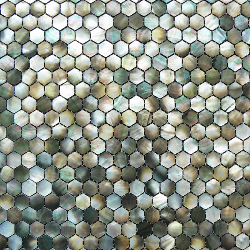 Black Mother of Pearl Hexagon Shell Mosaic Sheet, 25mm, 1 tile